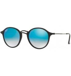 Gafas de sol RAY BAN R2447 ROUND FLECK Shiny Black-Grey Blue Mirror Shaded