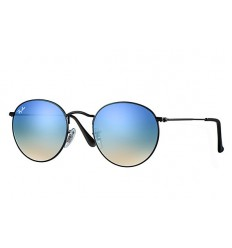 Gafas de sol RAY BAN 3447 ROUND METAL Shiny Black / Blue Mirror shaded