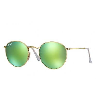 Gafas de sol RAY BAN 3447 ROUND METAL Gold Green Mirror POLARIZADA