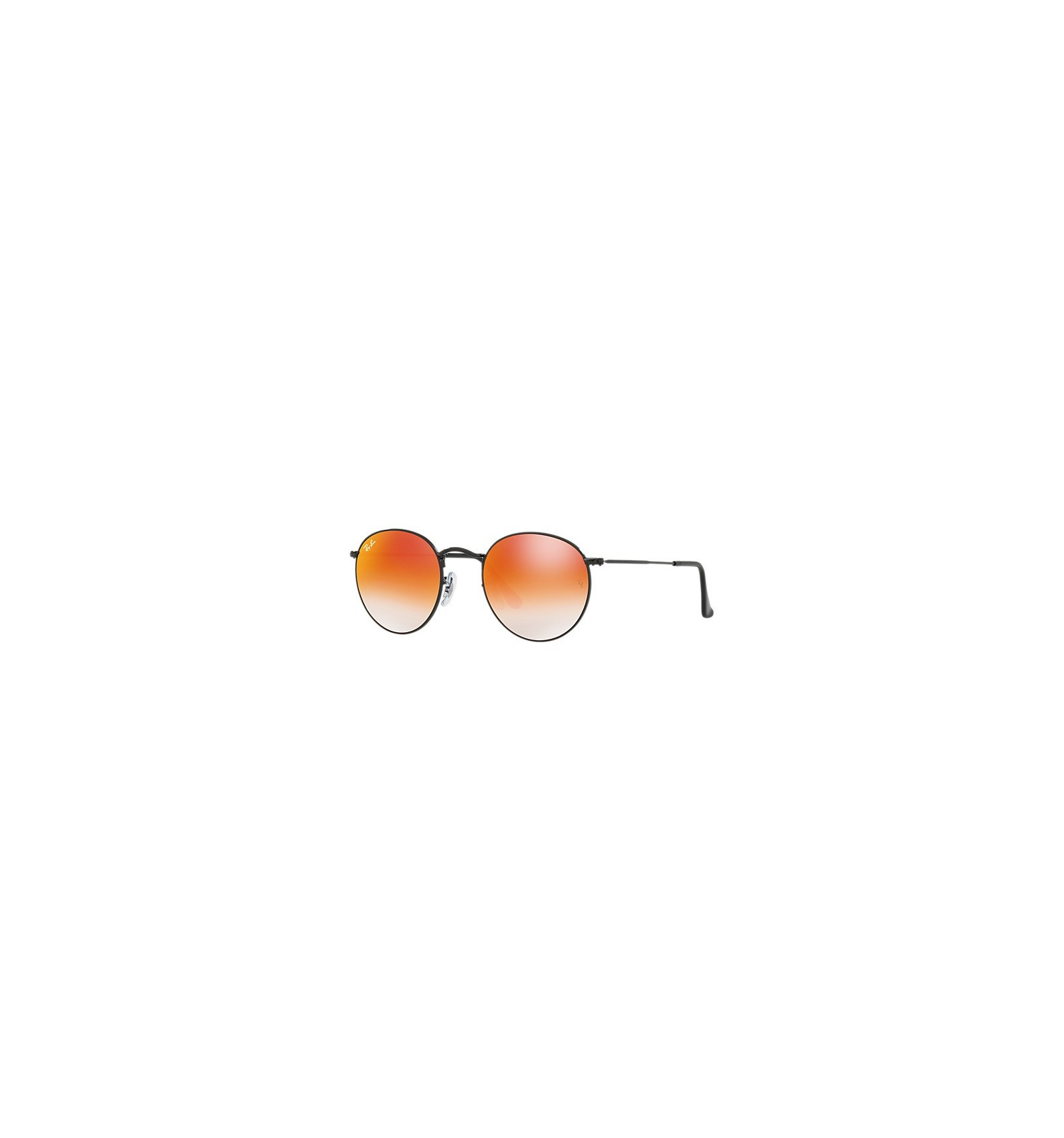 Gafas de sol RAY BAN 3447 ROUND METAL Shiny Black   Orange Mirror shaded 65fe32c2272c