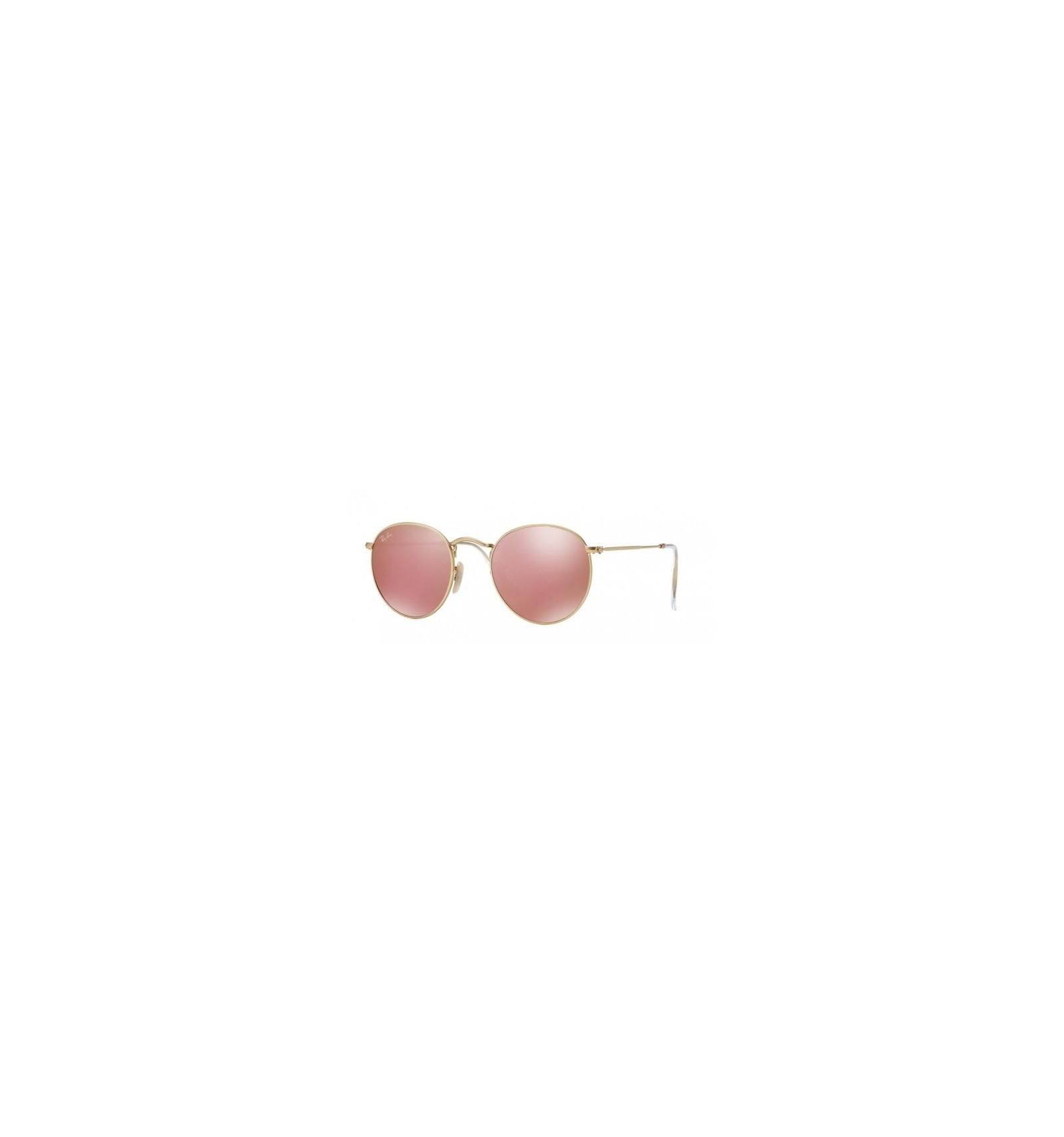 Gafas de sol RAY BAN 3447 ROUND METAL Matte Gold   Brown Mirror Pink 6dd895dbc1