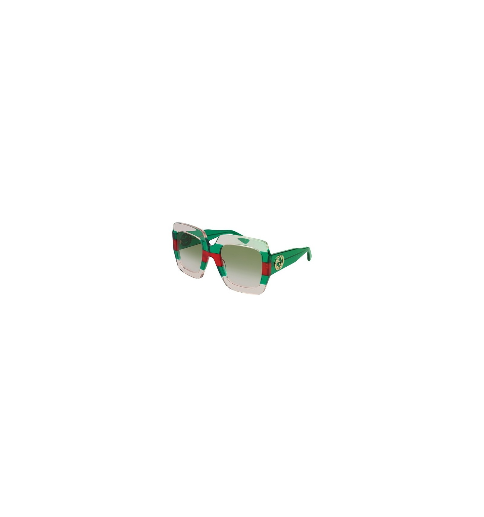 6863a94ef30 Gafas de Sol GUCCI GG0178S White Red striped Green - Green Shaded (001)