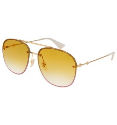 Gafas de Sol GUCCI GG0227S Glitter Gold Shaded Pink - Yellow Shaded (005)
