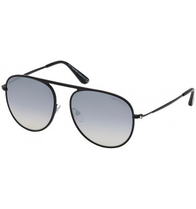 Gafas de Sol Tom Ford FT0621 JASON Shiny Black Silver - Smoke Mirror (01C)