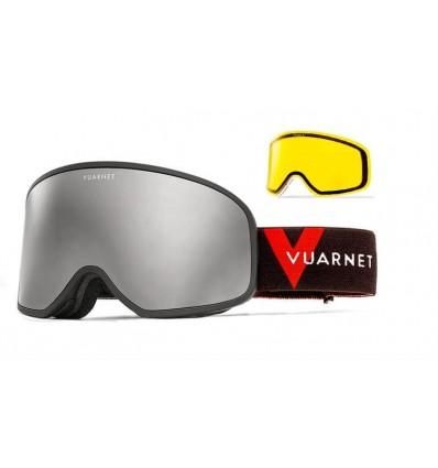 Mascara de neu Vuarnet VM1920 Negre Mate - Lents Gris Mirall Plata (0002 - 1523)